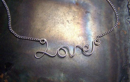 Custom Made Love Necklace - Sterling Silver Word Pendant With Chain - Cursive Word - Script - Handmade