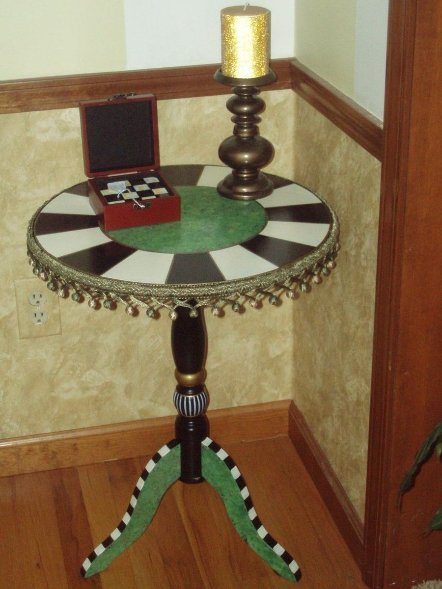 Hand Crafted Hand Painted Round Pedestal Accent Side Table