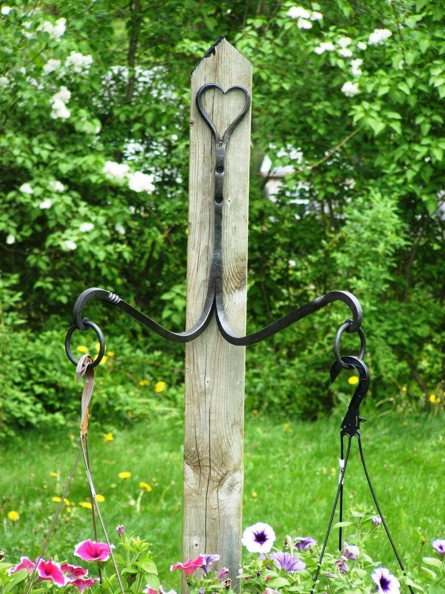 Custom Wrought Iron Double Plant Hanger By Hawley S Fine