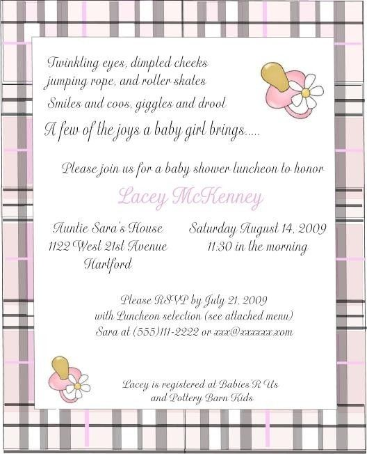 handmade burberry inspired baby shower invitations customized for you