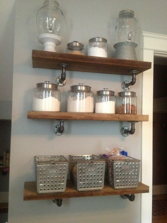 Custom industrial style shelves by jessi co llc for Estante de cocina industrial
