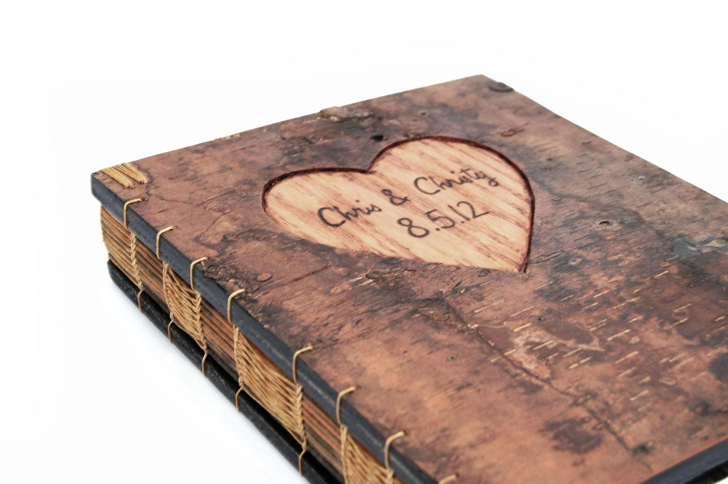 Hand Made Guest Book With Engraved Tree Bark Cover By