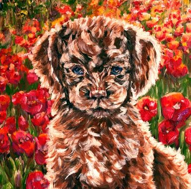 Custom Made Original Oil Painting On Canvas. Puppy And Poppies