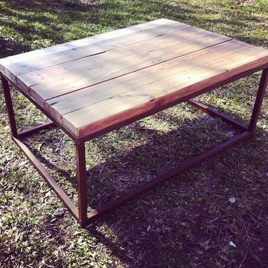 Hand Made Metal Base Reclaimed Wood Top Coffee Table By Osleeper Designs