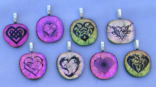 Custom Made Etched Dichroic Fused Glass Hearts