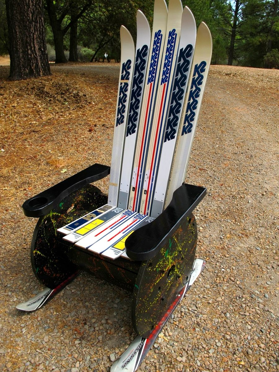 Hand Crafted Upcycled Adirondack Ski Chair By Naked Tree