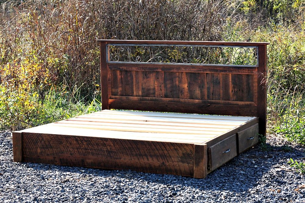 Rustic platform storage bed in solid reclaimed oak and wrought iron 4