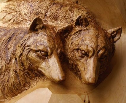 Hand Crafted Deep Relief Carving Quot Wolves Quot By Mk Carving