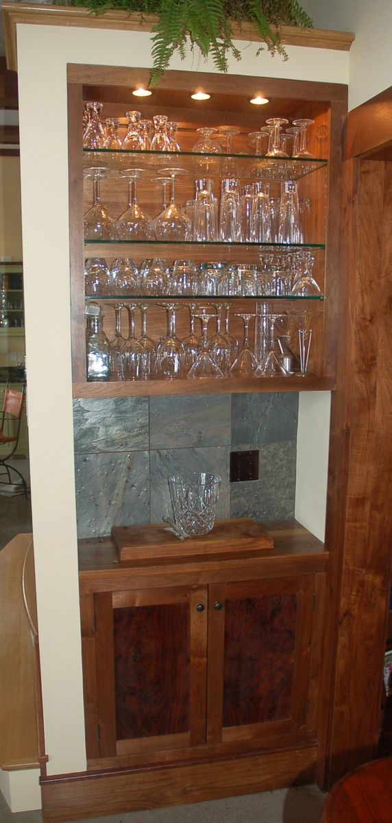 Handmade custom claro walnut built in bar and cabinet by - Custom made cabinet ...