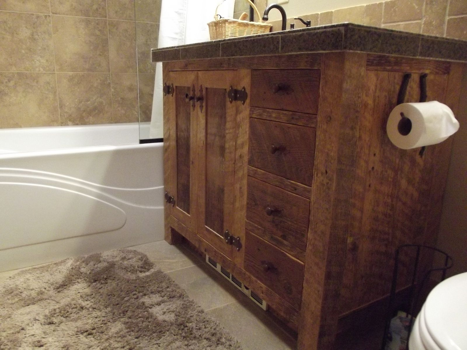 Hand crafted barn wood bath vanity by sheridan woodworking for Bathroom cabinets natural wood