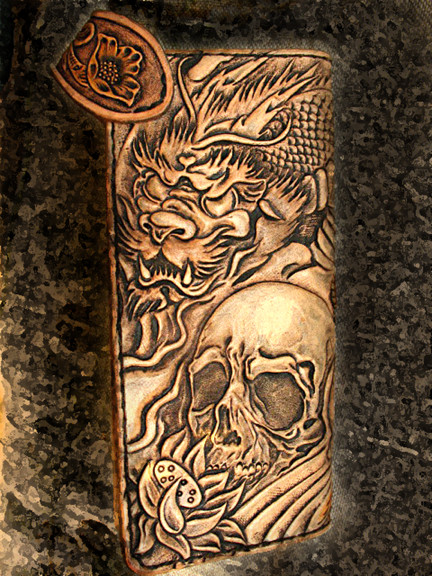Buy a hand crafted tooled carved dragon skull