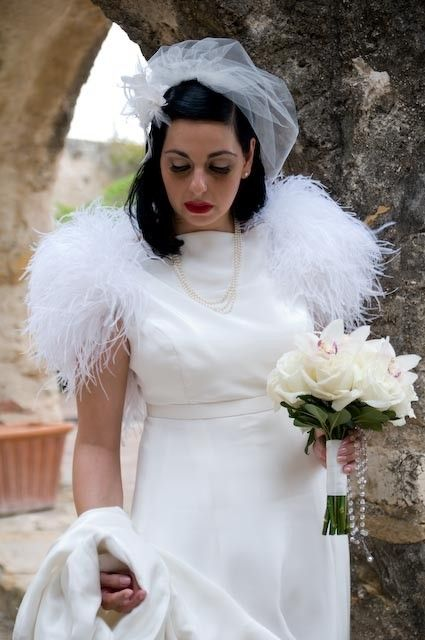 Custom made silk bridal gown with ostrich feathers by for Wedding dress with ostrich feathers