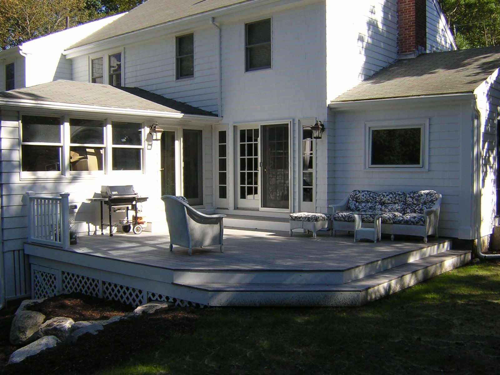 Custom made deck and exterior french doors by wooden for Front entry decks