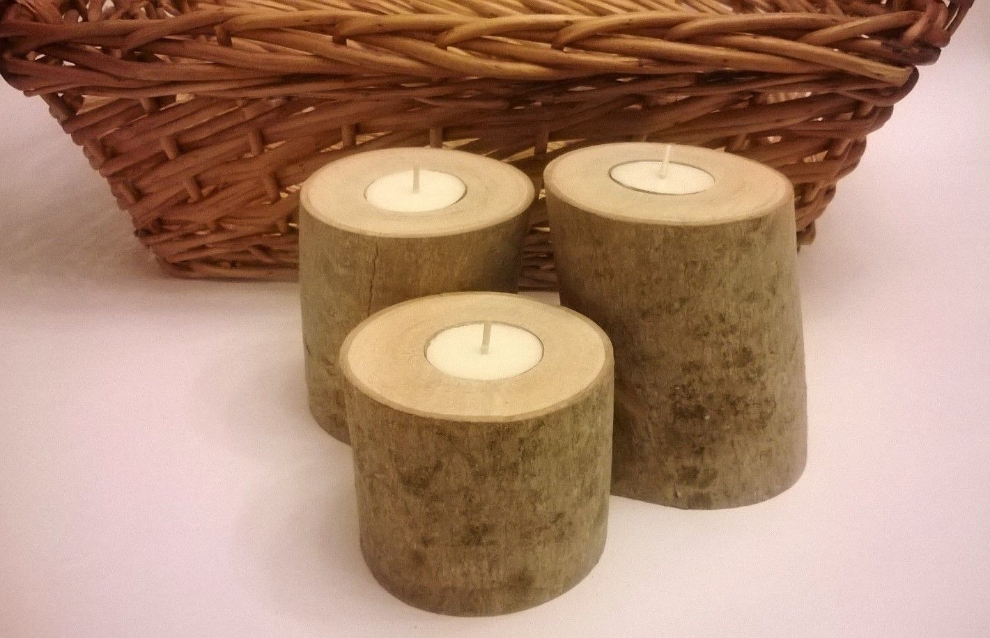 Handmade birch log tea light candle holders by smith for Log candle holder how to make