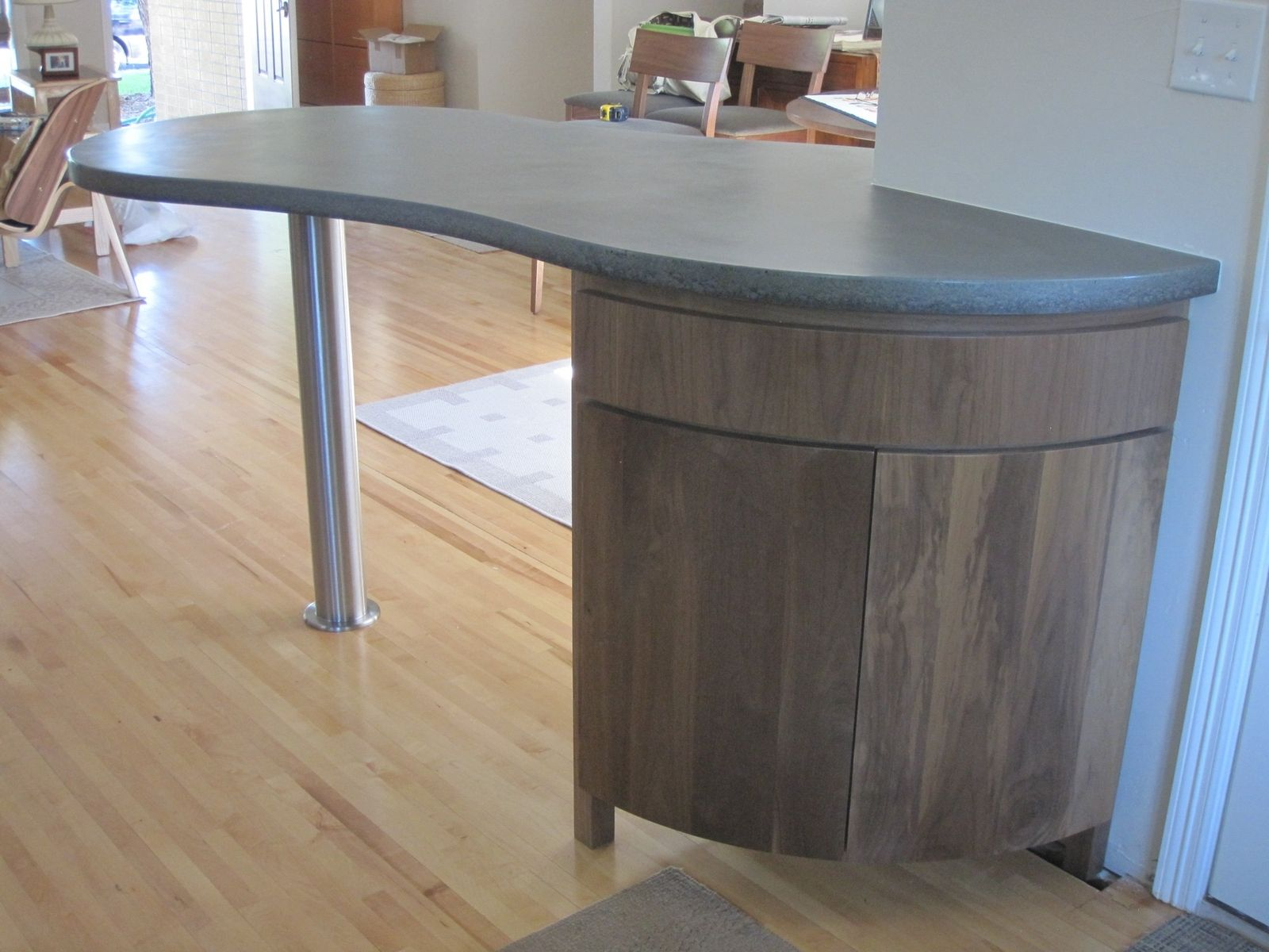 Hand crafted curved kitchen island cabinet by mcguire - Custom made cabinet ...