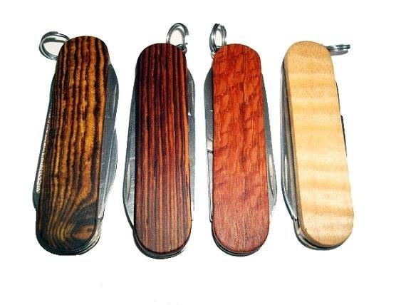 Hand Made Wooden Keychain Knives Swiss Army By Wood