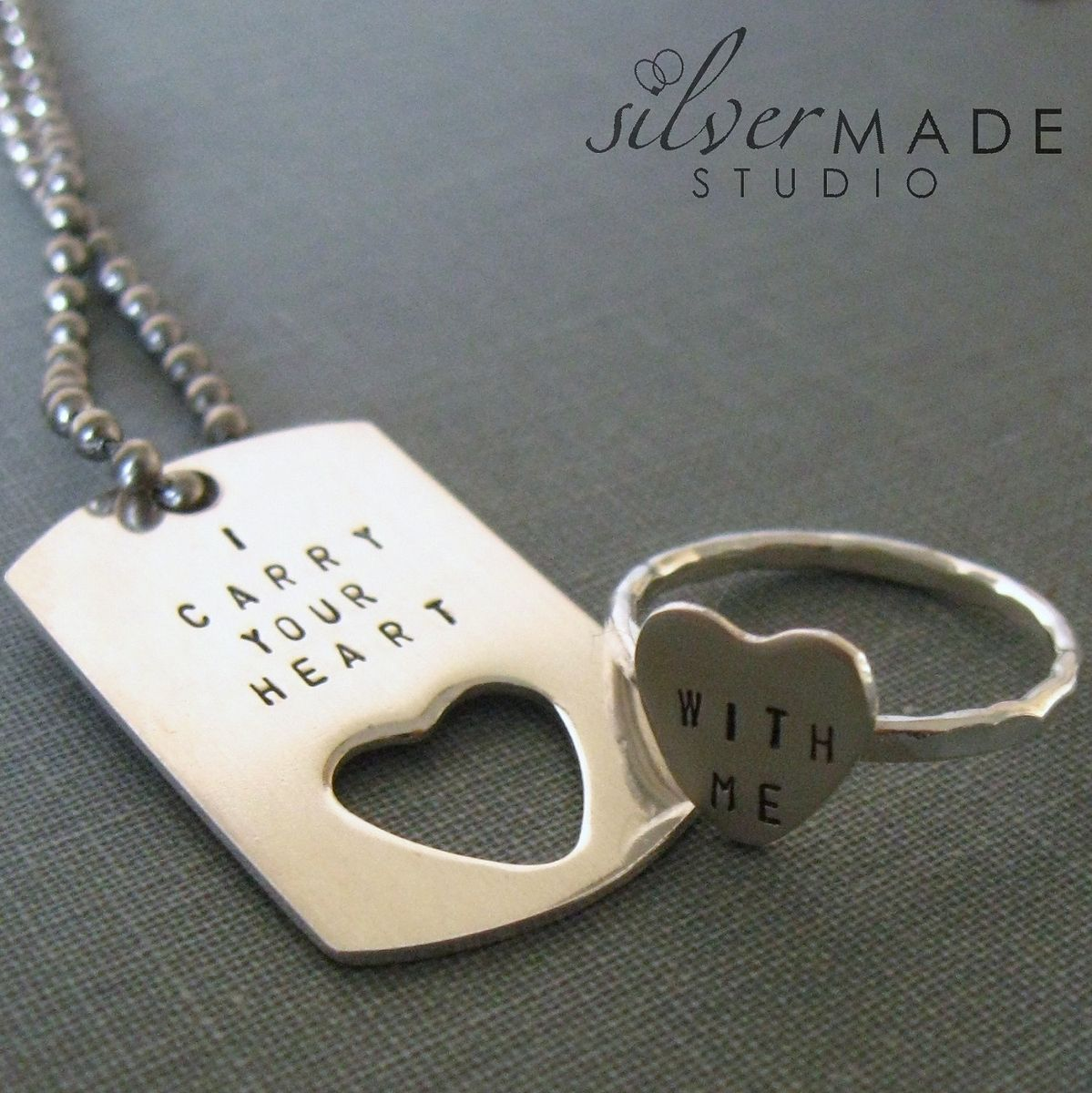 Handmade I Carry Your Heart Petite Dog Tag And Sterling