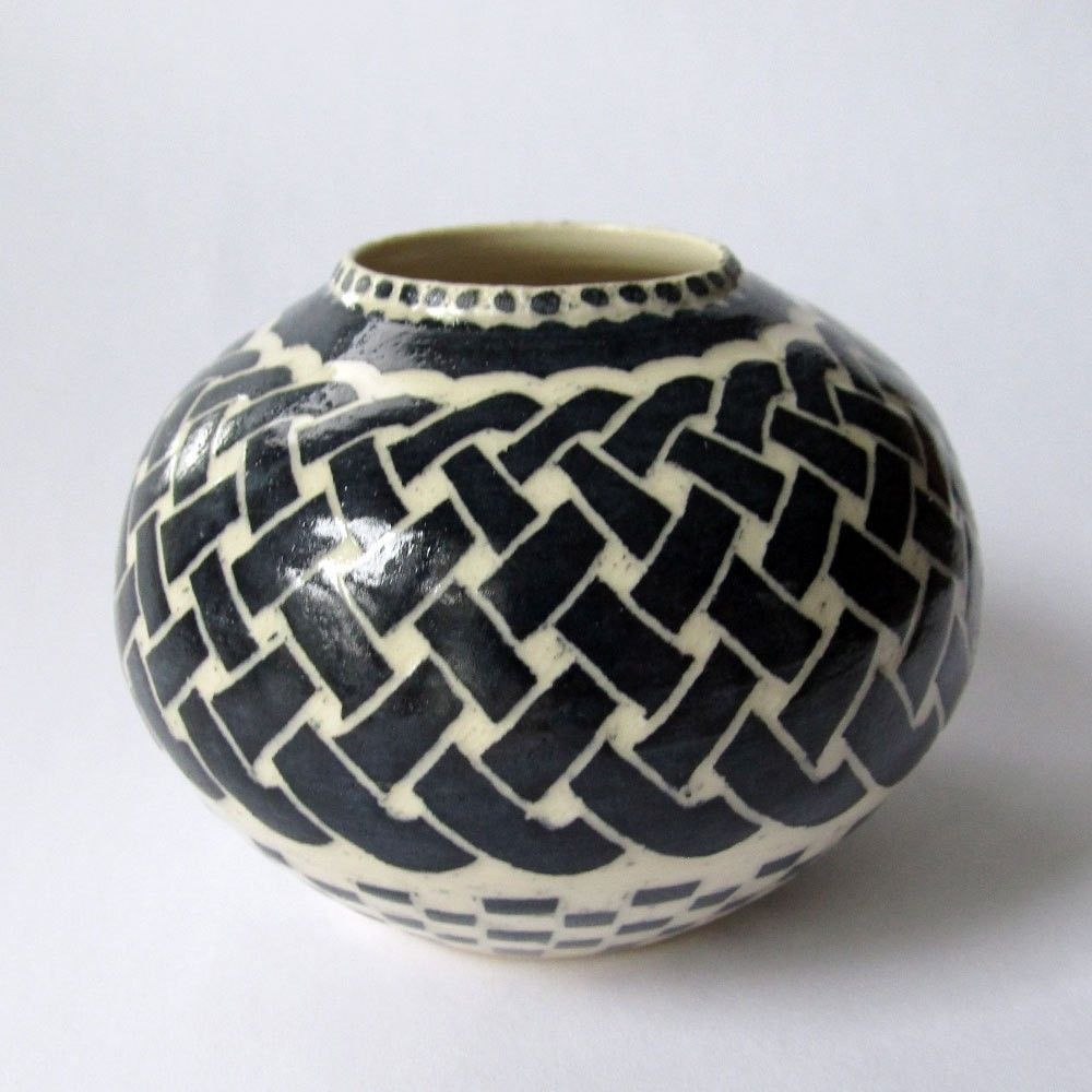 Handmade Stoneware Vase With Celtic Knot And Checkered Pattern