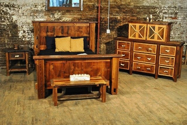 hand crafted rustic bedroom set reclaimed barnwood by