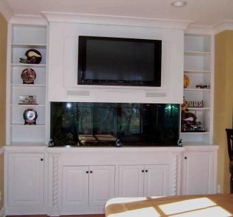 Hand made built in fish tank entertainment center by kent for Built in fish tank