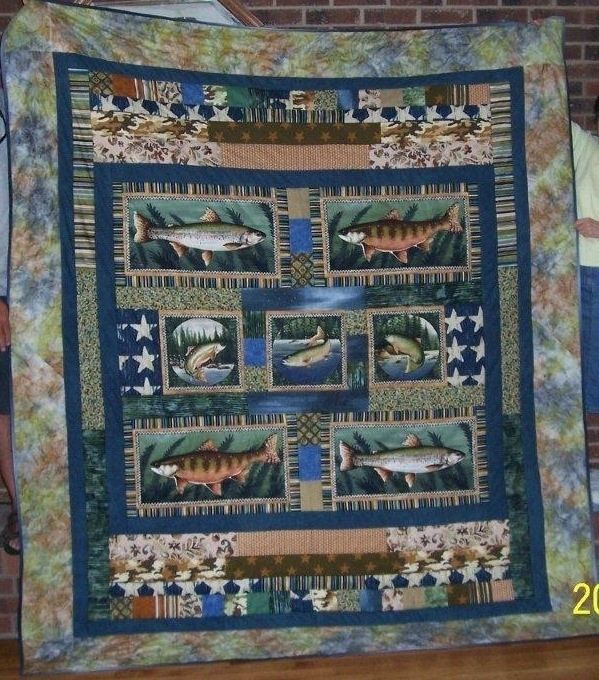Handmade custom gone fishing themed quilt by songs and for Fishing themed fabric