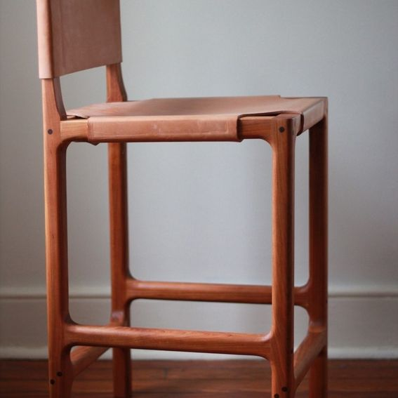 Custom Cherry And Leather Counter Stool By Martell