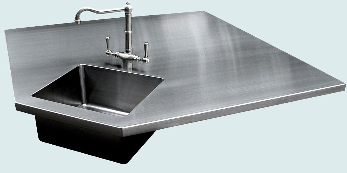 custom stainless countertop with 5 sides integral sink