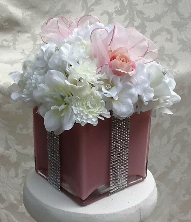 Hand crafted silk floral centerpiece for baby shower for Flower arrangements for sweet 16