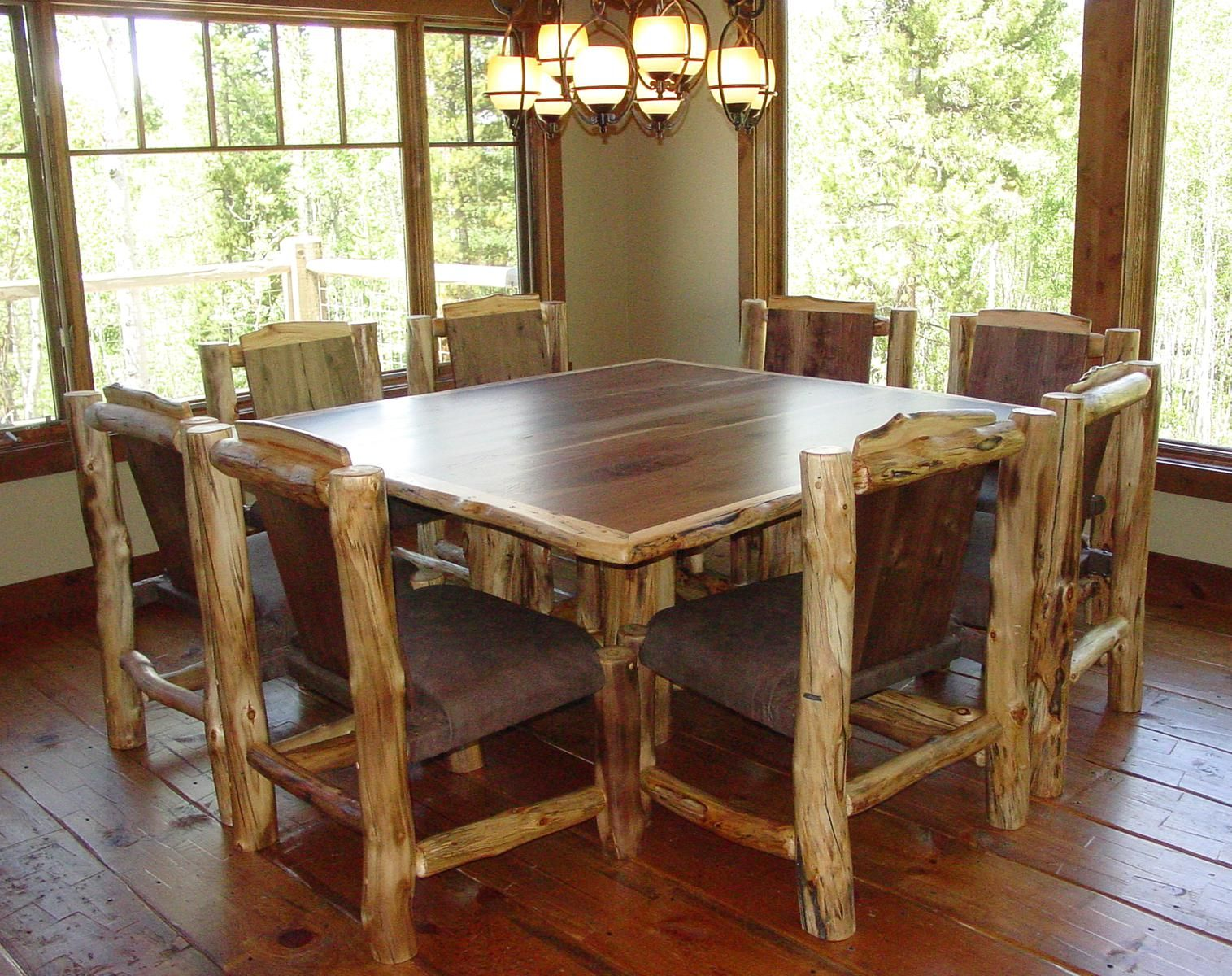 Custom Aspen And Solid Walnut Dining Set With 8 Chairs By Naked Aspen Designs