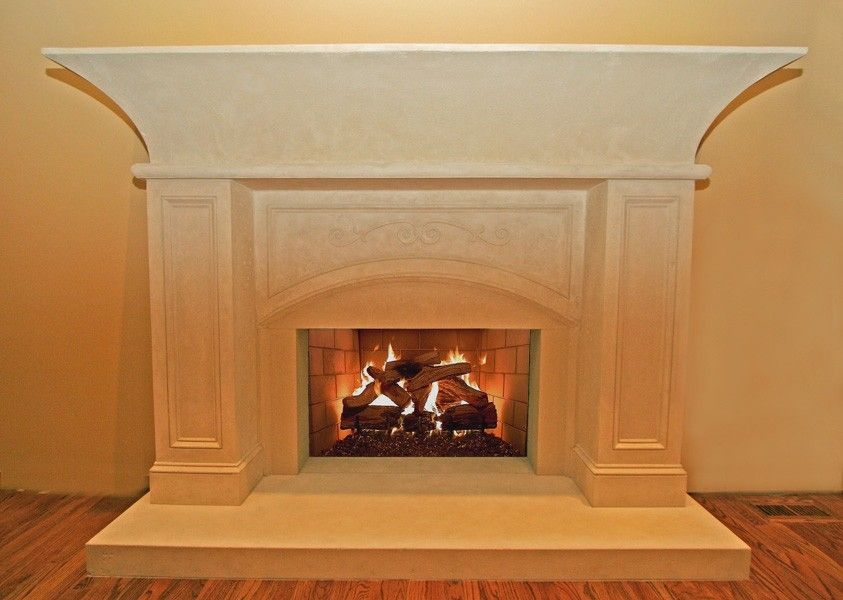 Custom concrete fireplace hearth surround and mantel by for Concrete mantels and hearths