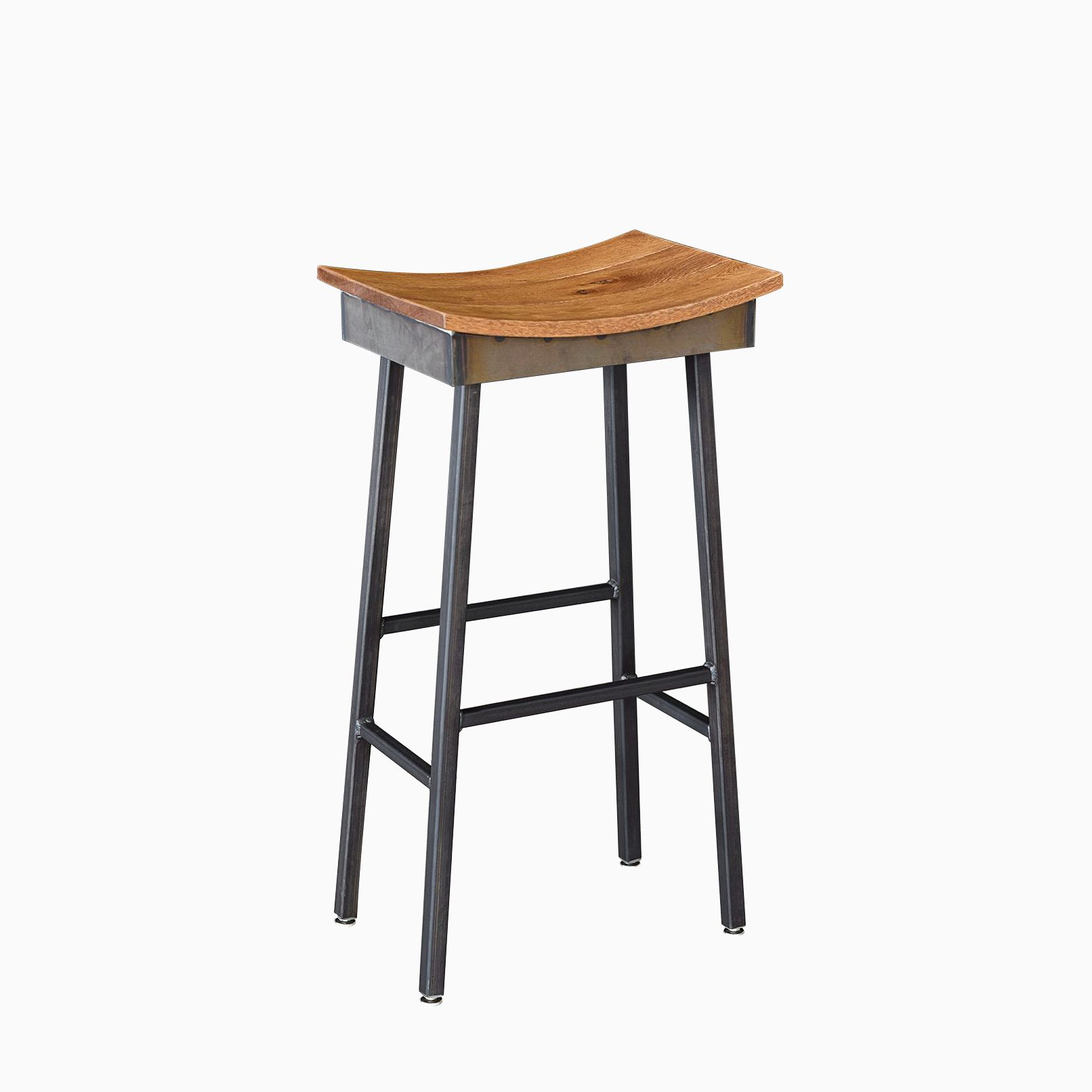 Buy a custom made industrial modern saddle stool made to for Industrial design bar stools