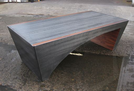 Custom Made Curved Steel Coffee Table By Bill More Design