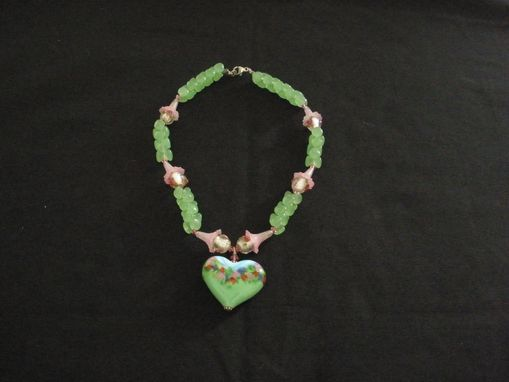 Custom Made Heartshape Blown Gass Pendant With Green Chalcedony Heartshape Beads, Vintage Bell Beads And Lampwork Glass