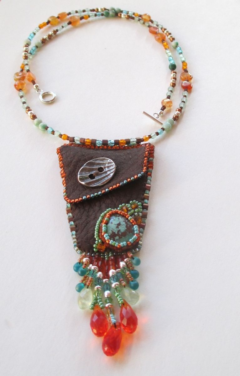Custom Beaded Leather Medicine Bag Necklace With Stone By