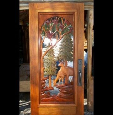 Custom carved deer door by hugo mesa studio for Custom made wood doors
