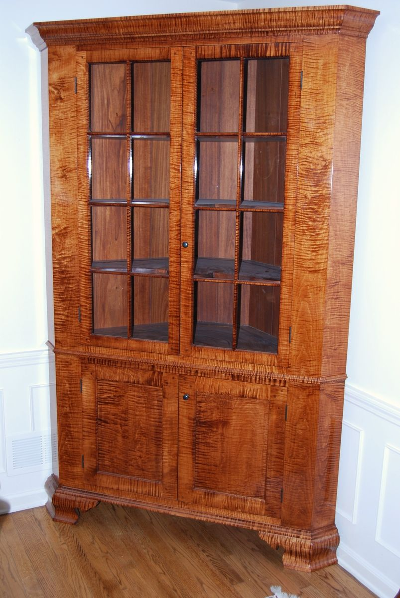 Hand Made Tiger Maple Corner Cupboard By Foster S Cabinet Shop Custommade Com