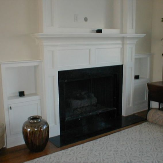 custom made built in fireplace mantle for flat screen tv