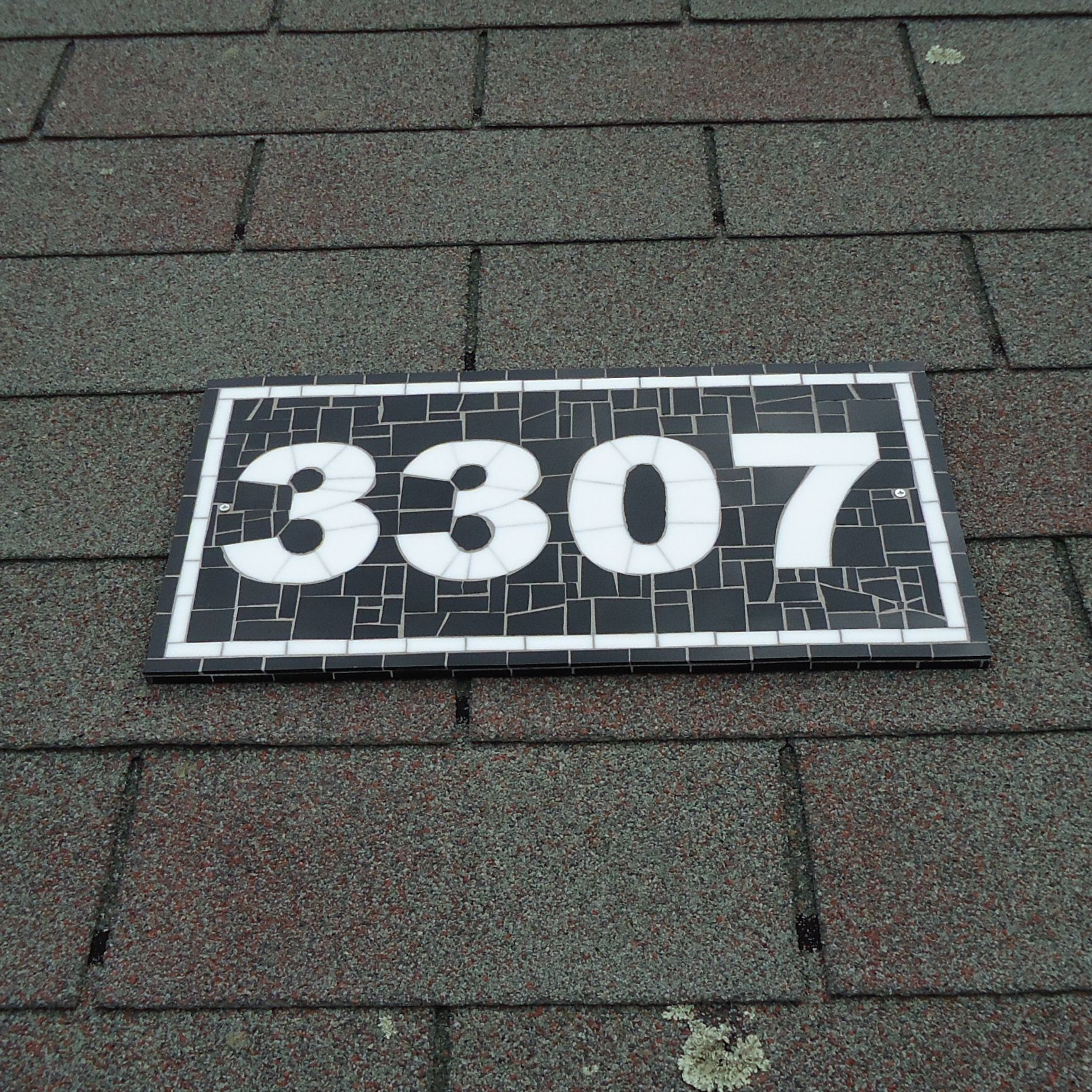 Buy A Hand Crafted Mosaic Outdoor Address Plaque Black And White House Number 8 5 H X 16 W