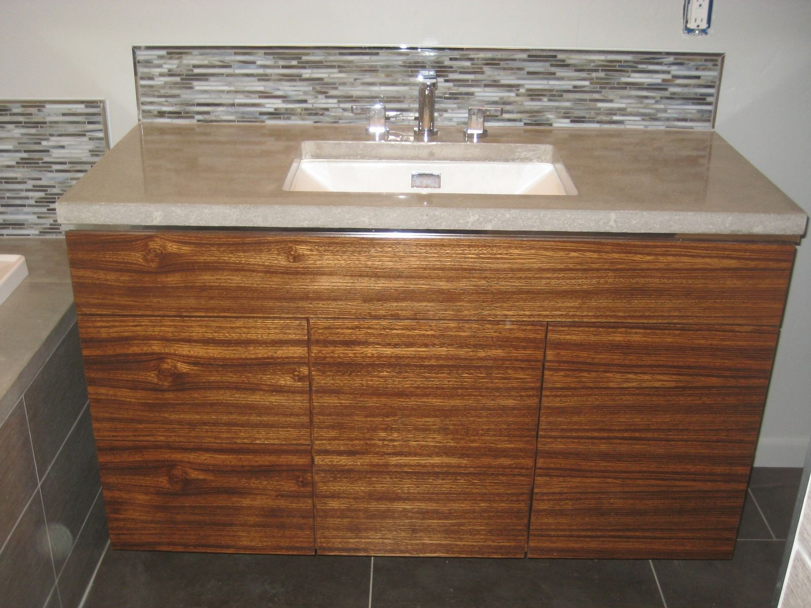 Hand Crafted Custom Bathroom W Zebrawood Vanity And Concrete Countertops By Precision Builders