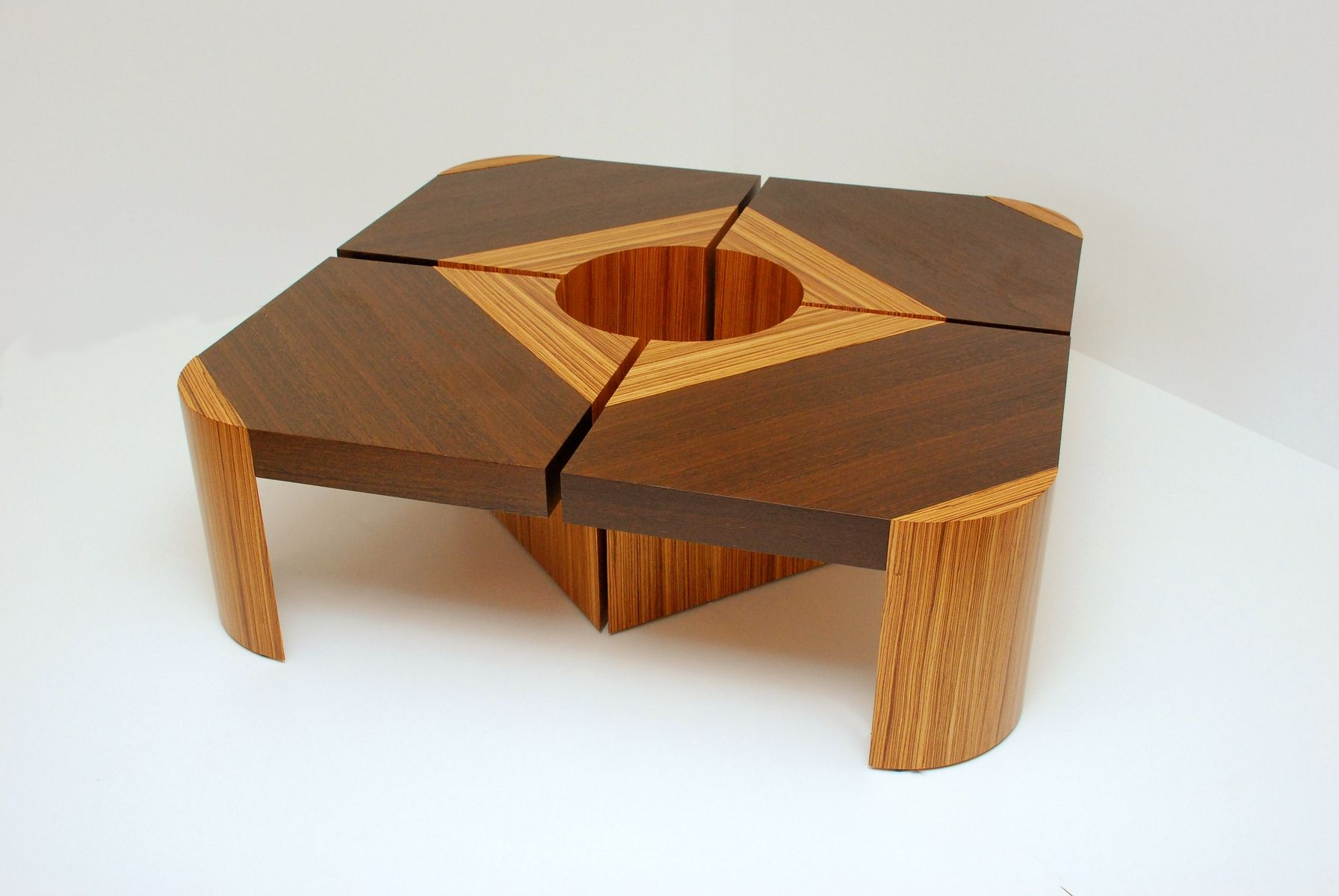 Handmade Bloom Table Set Wenge Zebra Wood By Furniture