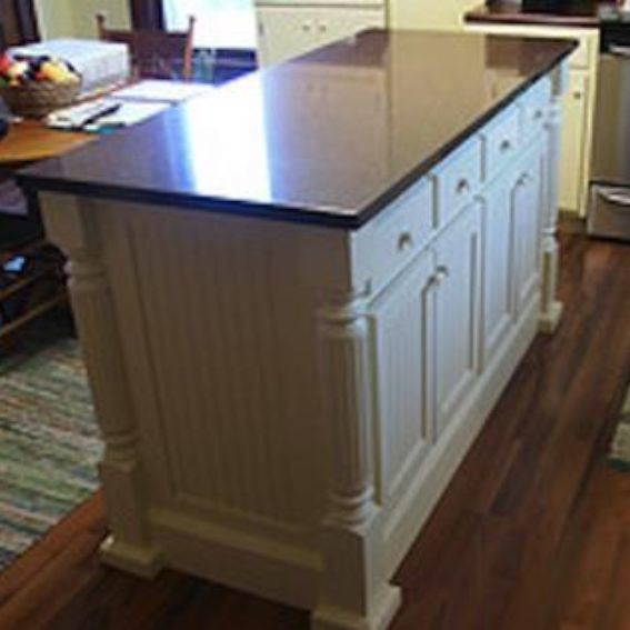 Handmade Custom Kitchen Island With Beaded Panels By