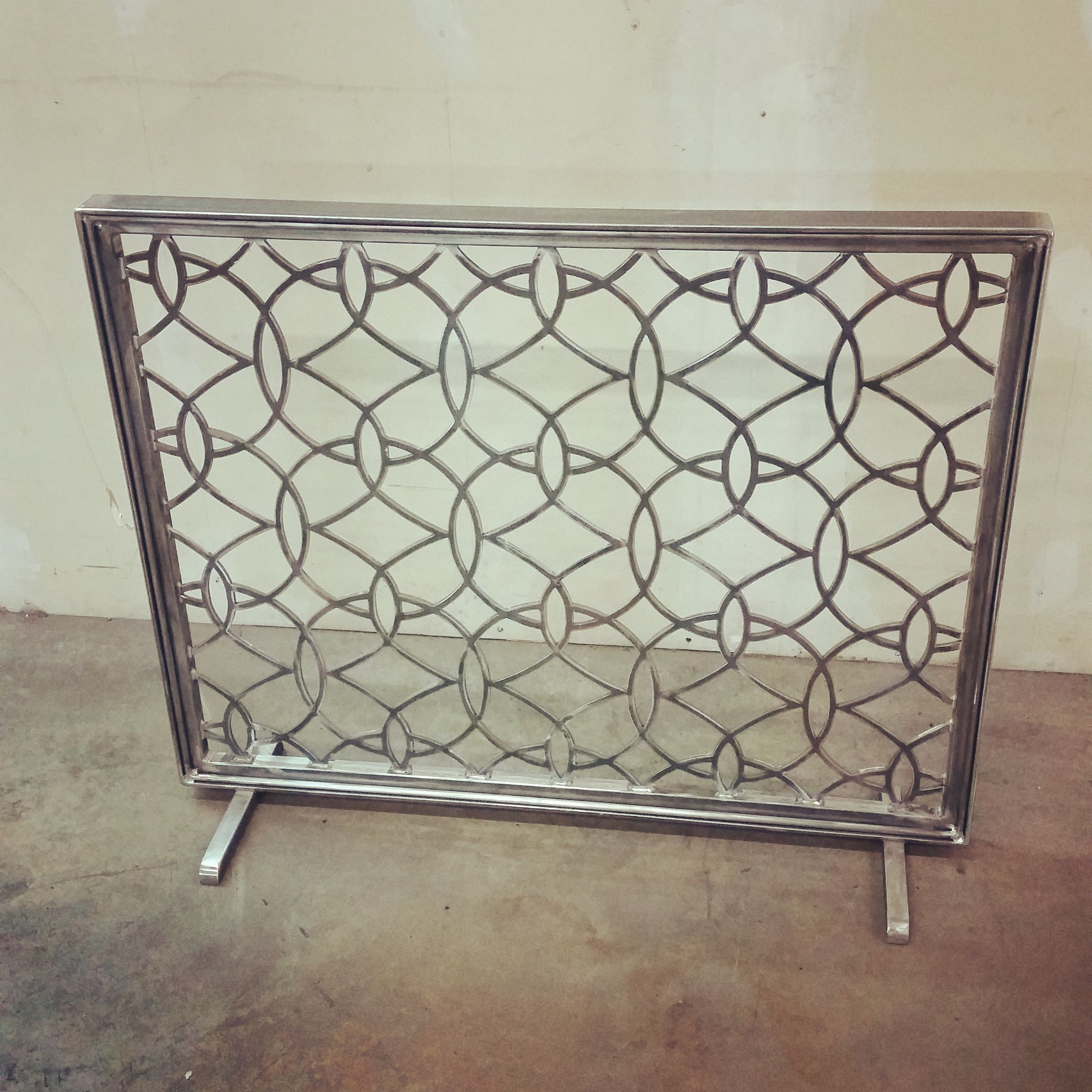 custom metal fireplace screen by urban ironcraft
