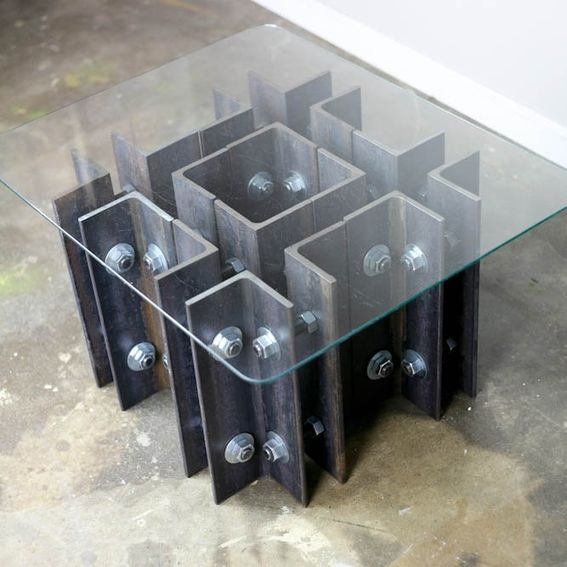 Industrial Unique Metal Designer Coffee Table: Hand Crafted Modern Industrial Coffee/End Table, Unique