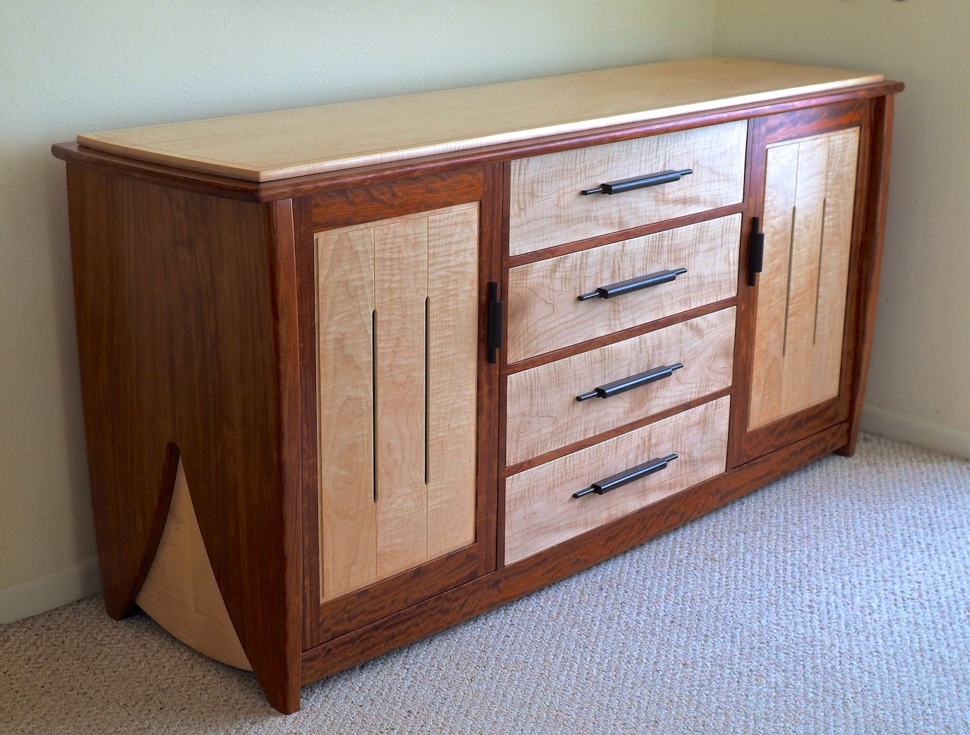 Hand Crafted Contemporary Dresser In Bubinga Amp Curly Maple