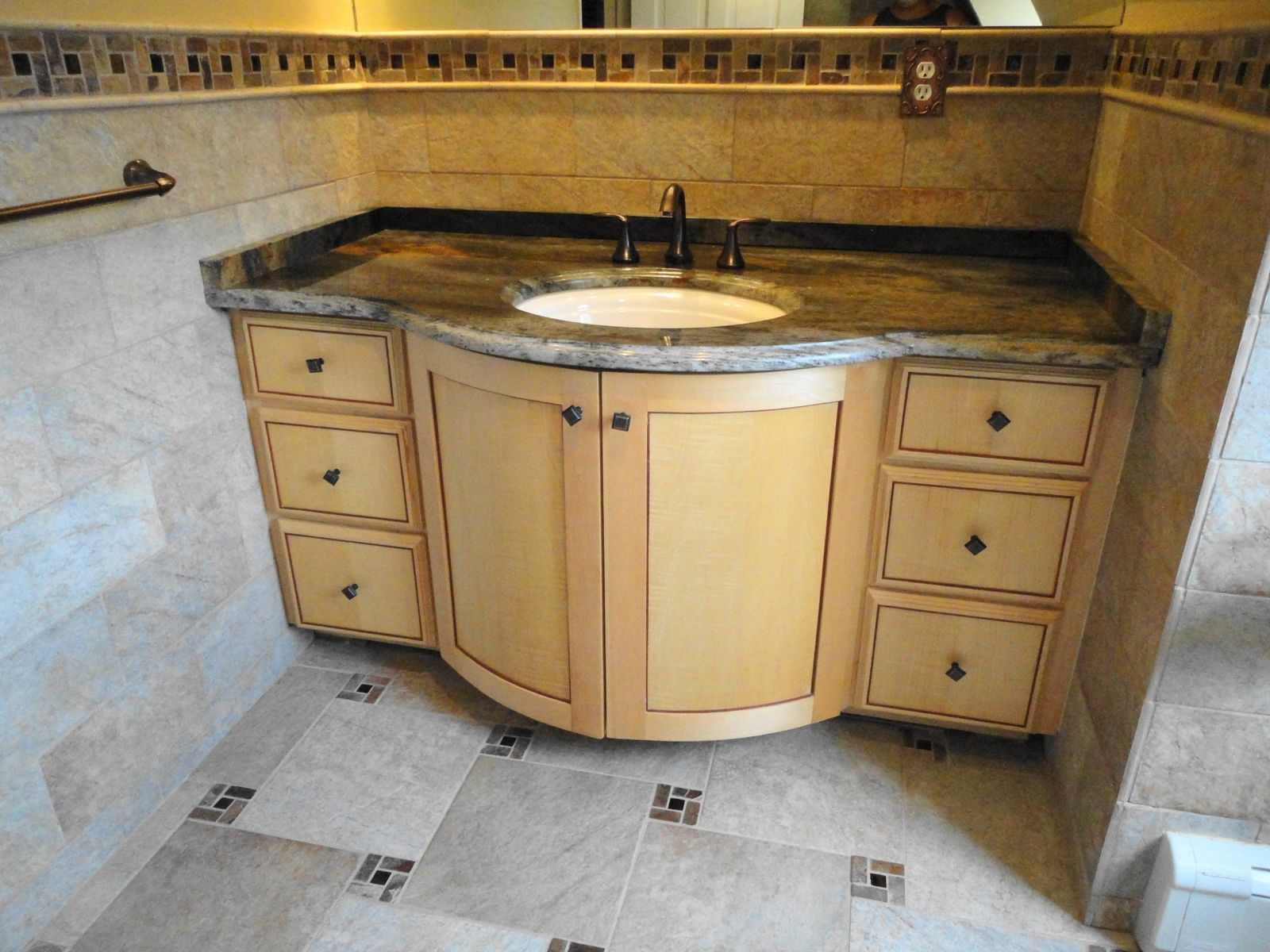 Hand Made Curly Maple Bathroom Vanity By Oak Mountain
