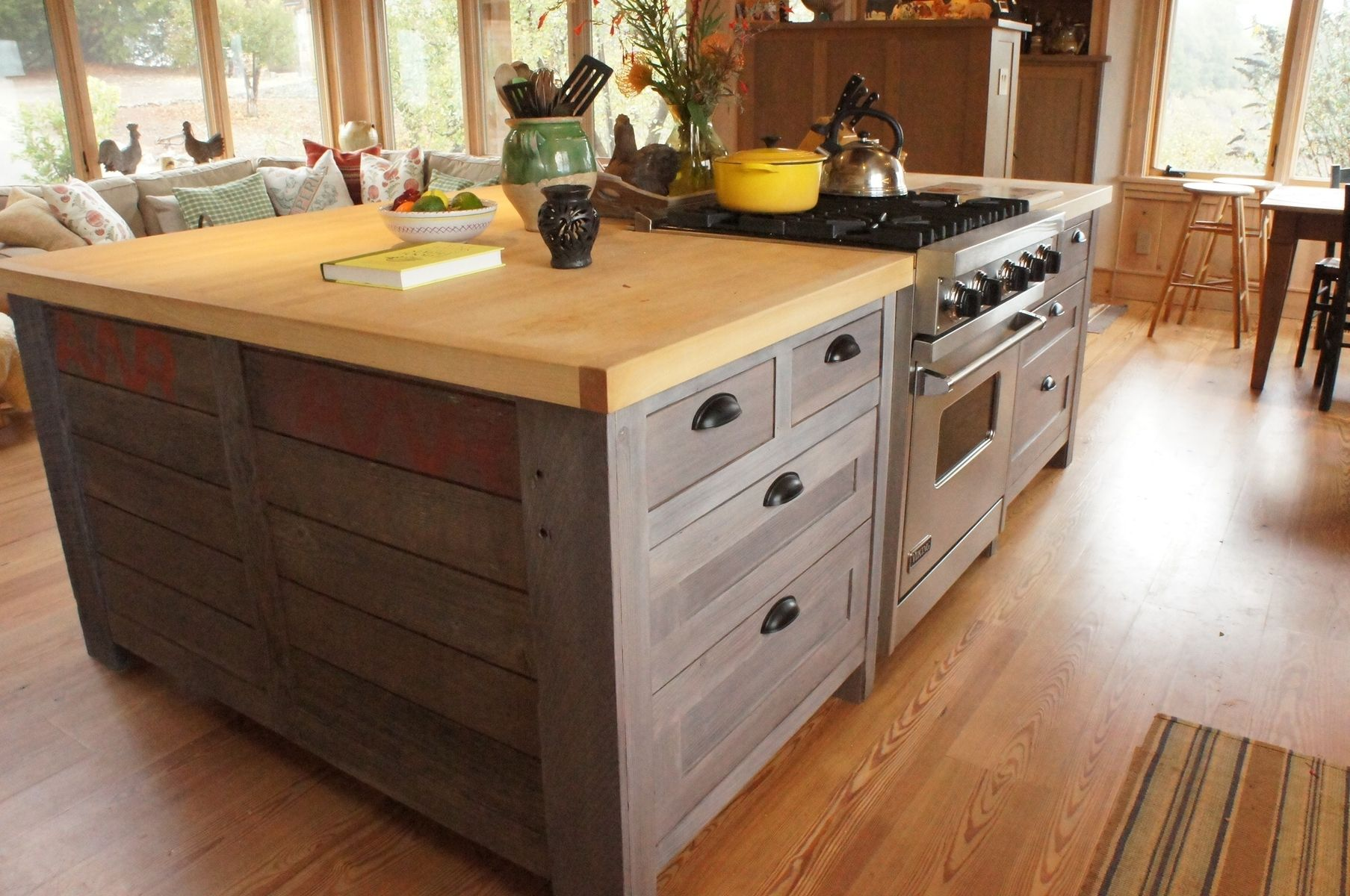 Hand crafted rustic kitchen island by atlas stringed for Built in kitchen islands