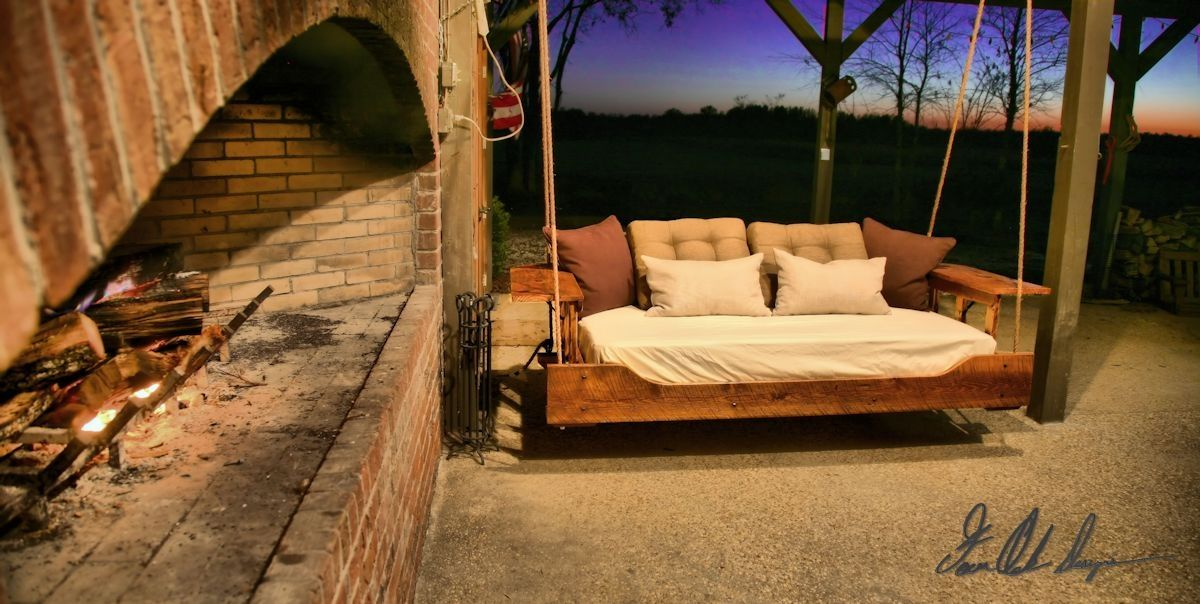 Buy a custom made r r hanging daybed porch swing made to for Outdoor hanging bed swing