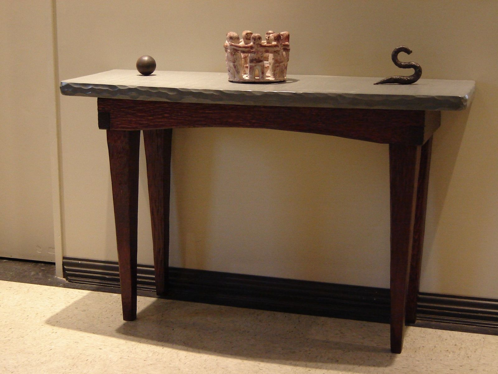 Foyer Table Set : Custom foyer table stone and wood by stonehunterstudio