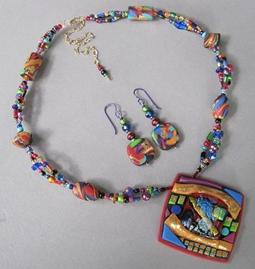 Custom Made Fused Glass & Polymer Pendant On Beaded Necklace