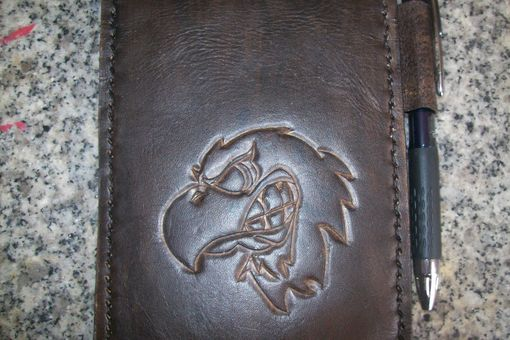 Custom Made Custom Leather Notebook With Eagle Head Design In Bison Brown